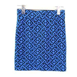 Bodycon Skirt Geometric Royal Blue White Mini
